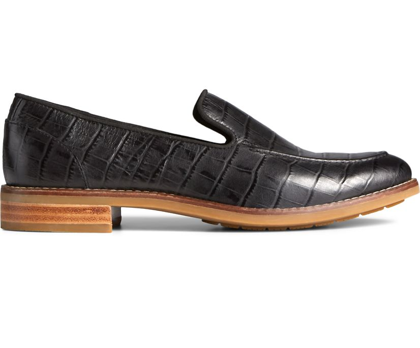 Fairpoint Croc Leather Loafer, Black, dynamic