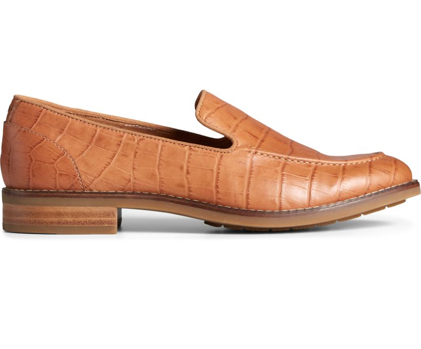 Fairpoint Croc Leather Loafer, Tan, dynamic