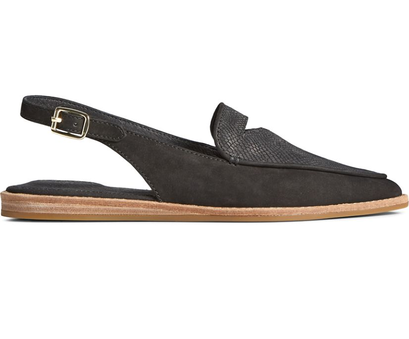 Saybrook Leather Slingback, Black, dynamic