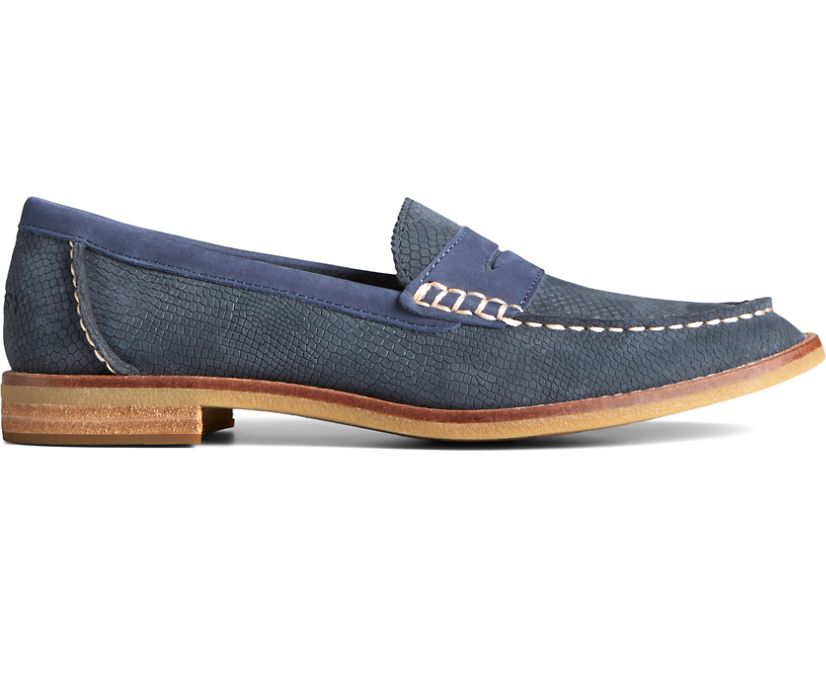 Seaport Penny Exotic Leather Loafer, Navy, dynamic
