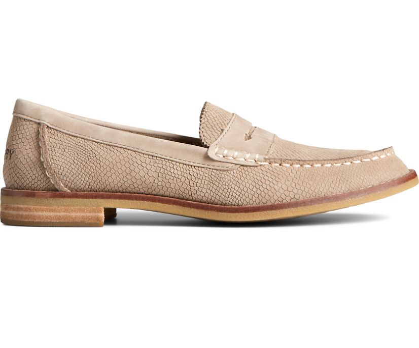 Seaport Penny Exotic Leather Loafer, Taupe, dynamic