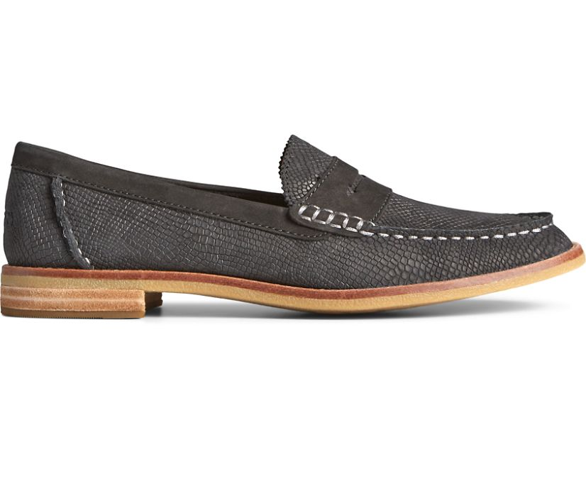 Seaport Penny Exotic Leather Loafer, Black, dynamic