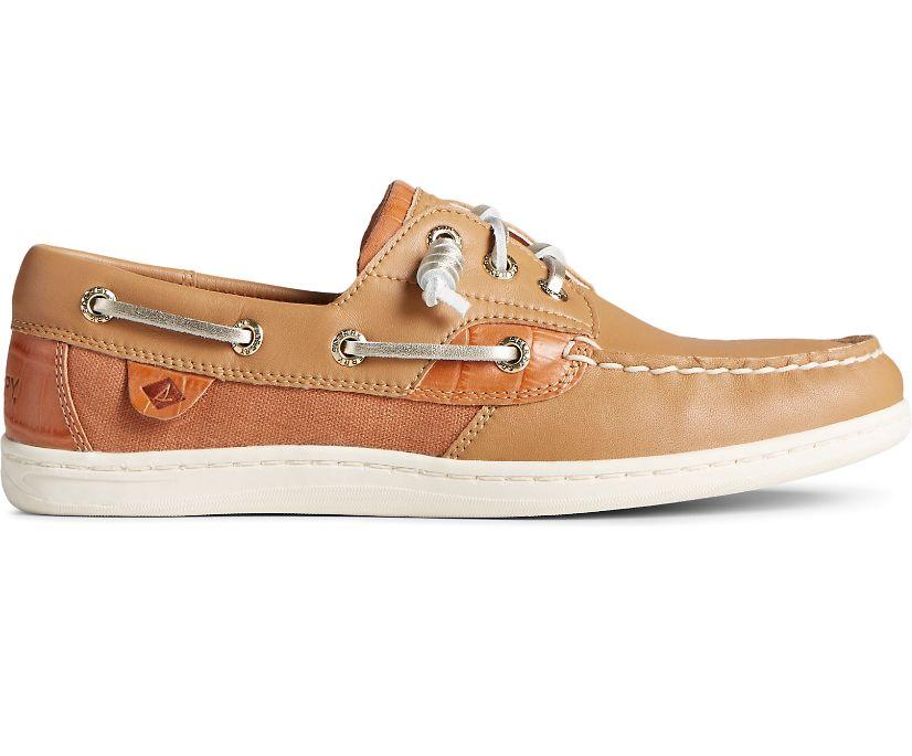 Songfish Croc Leather Boat Shoe, Tan, dynamic