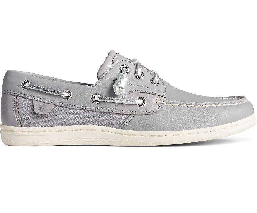 Songfish Croc Leather Boat Shoe, Grey, dynamic