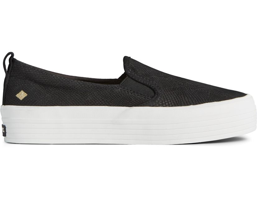 Crest Twin Gore Platform Snake Leather Slip On Sneaker, Black, dynamic