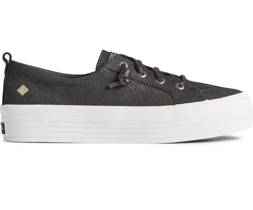 Crest Vibe Platform Snake Leather Sneaker, Black, dynamic