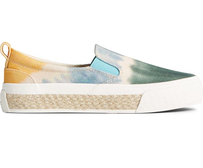 Crest Twin Gore Tie Dye Platform Slip On Sneaker, Green Multi, dynamic