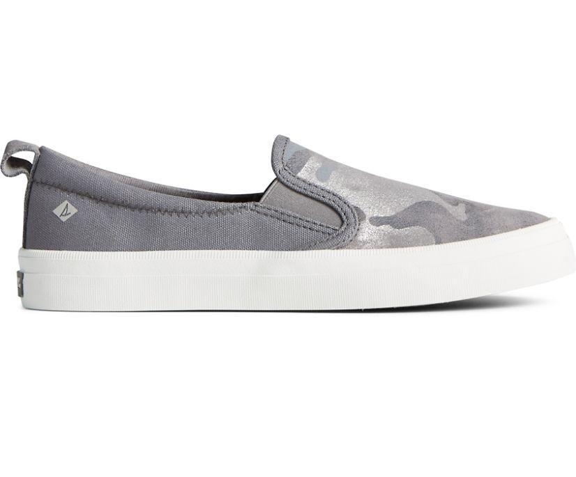 Crest Twin Gore Camo Metallic Leather Slip On Sneaker, Silver, dynamic