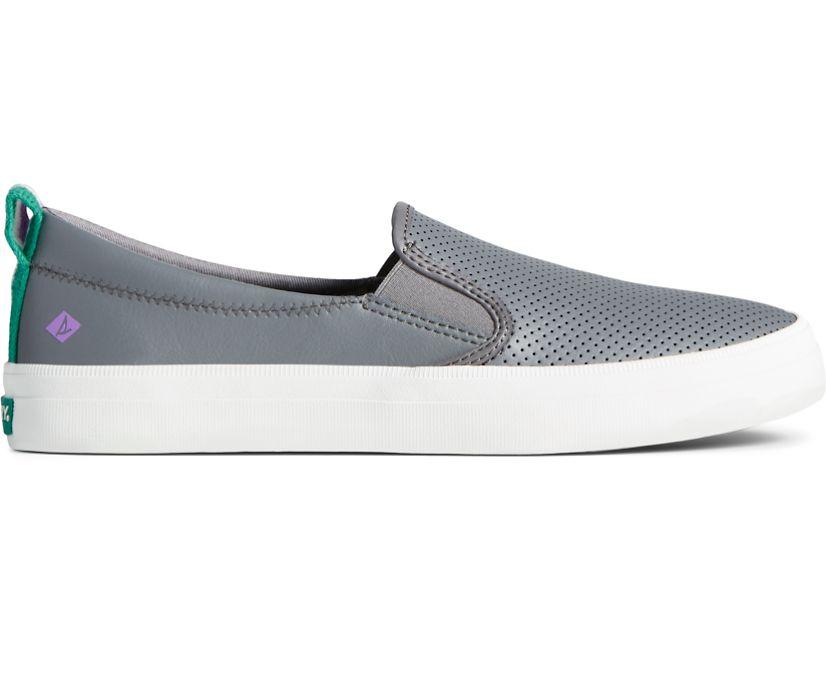 Crest Twin Gore Leather Slip On Sneaker, Grey, dynamic
