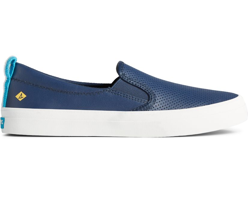 Crest Twin Gore Leather Slip On Sneaker, Navy, dynamic