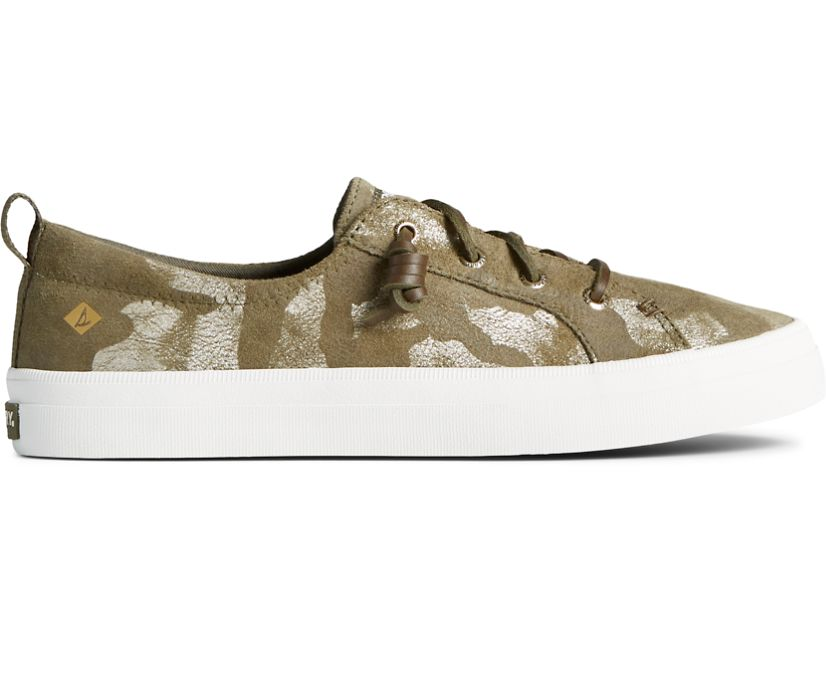 Crest Vibe Camo Metallic Leather Sneaker, Olive, dynamic