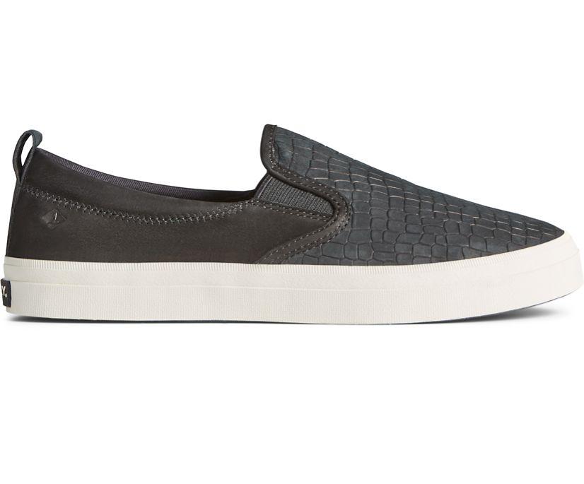 Crest Twin Gore PLUSHWAVE Snake Leather Slip On Sneaker, Black, dynamic