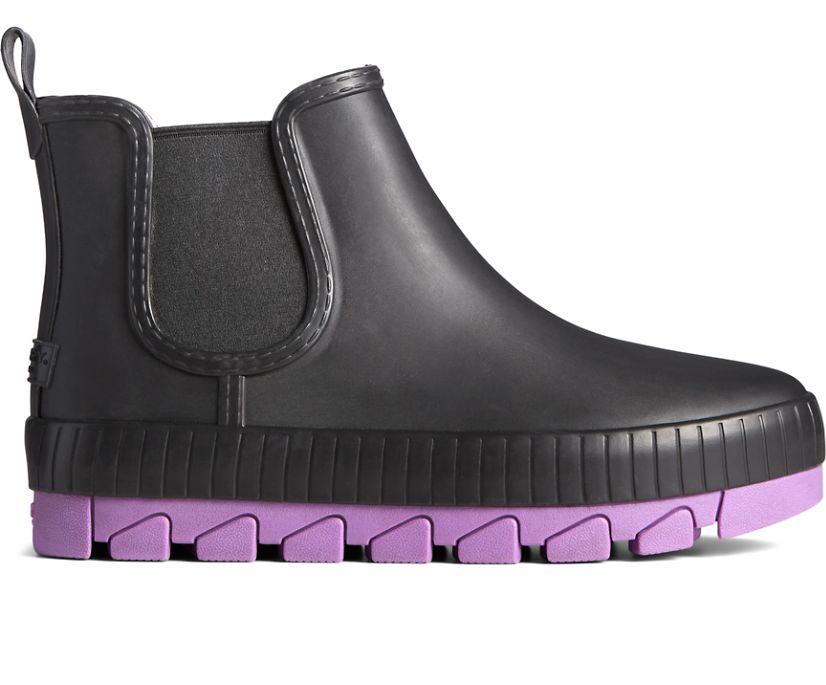 Torrent Pop Chelsea Rain Boot, Black/Purple, dynamic