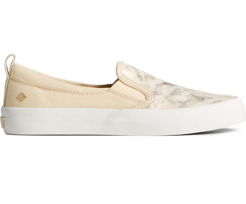 Crest Twin Gore Camo Metallic Leather Slip On Sneaker, Ivory, dynamic