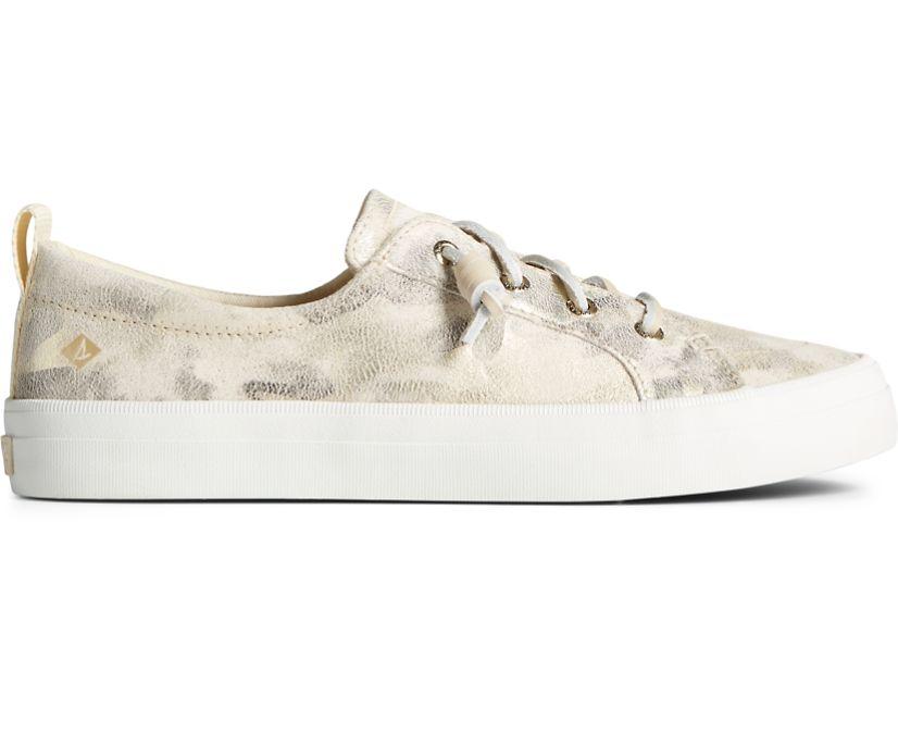 Crest Vibe Camo Metallic Leather Sneaker, Ivory, dynamic