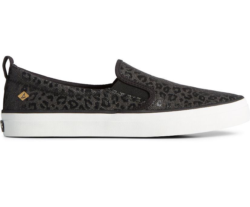 Crest Twin Gore Animal Print Slip On Sneaker, Black, dynamic