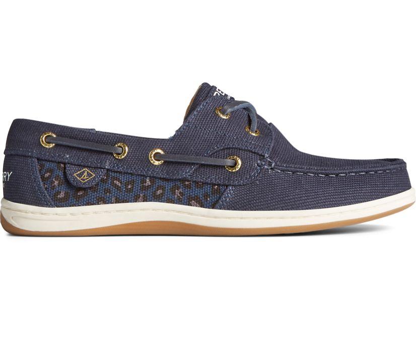 Koifish Animal Print Boat Shoe, Navy, dynamic