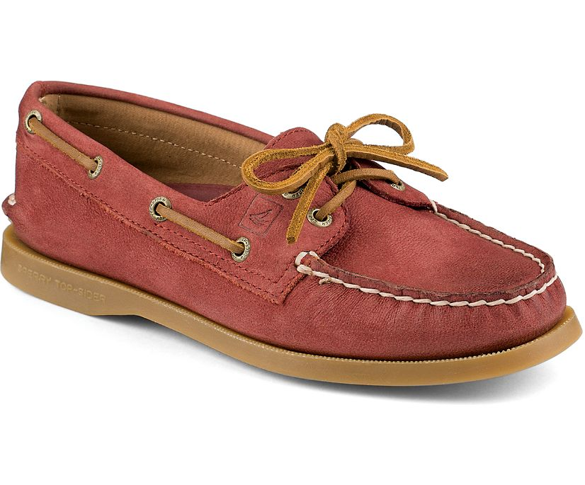 Authentic Original Weathered 2-Eye Boat Shoe, Burnt Red, dynamic