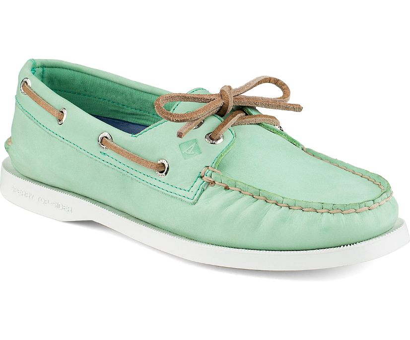 Authentic Original Waxed Leather Boat Shoe, Mint, dynamic