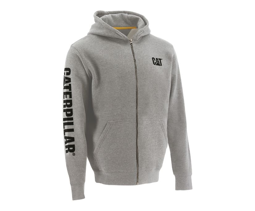 Full Zip Hooded Sweatshirt, Light Grey, dynamic