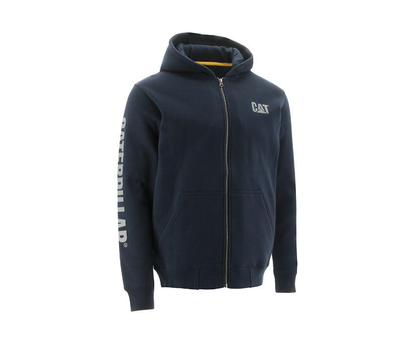 Full Zip Hooded Sweatshirt, Navy, dynamic