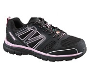 Nimble CSA Steel Toe Work Shoe, Black/Pink, dynamic