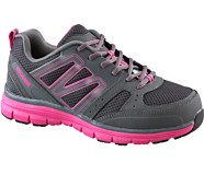 Nimble CSA Steel Toe Work Shoe, Grey/Fuchsia, dynamic