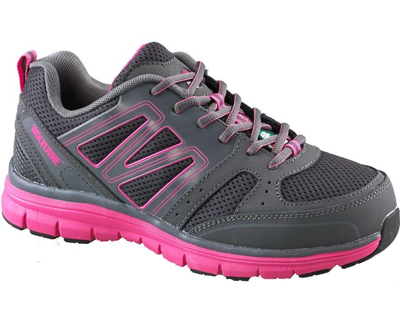 Nimble CSA Steel Toe Work Shoe, Grey/Fuchsia, dynamic