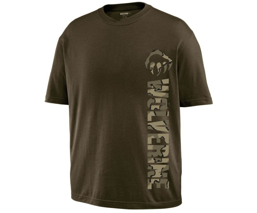 Vertical Short Sleeve Graphic Tee, Olive, dynamic