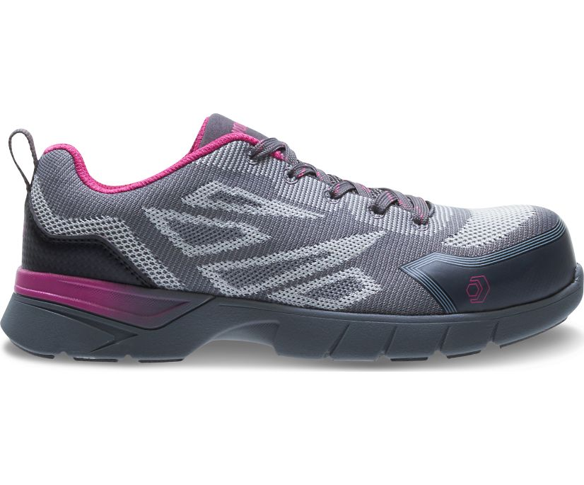 Jetstream 2 CSA CarbonMax Safety Toe Work Shoe, Grey/Pink, dynamic