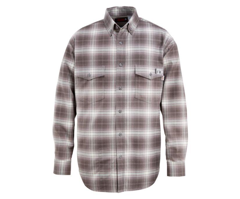 FR Plaid Long Sleeve Twill Shirt, Charcoal, dynamic