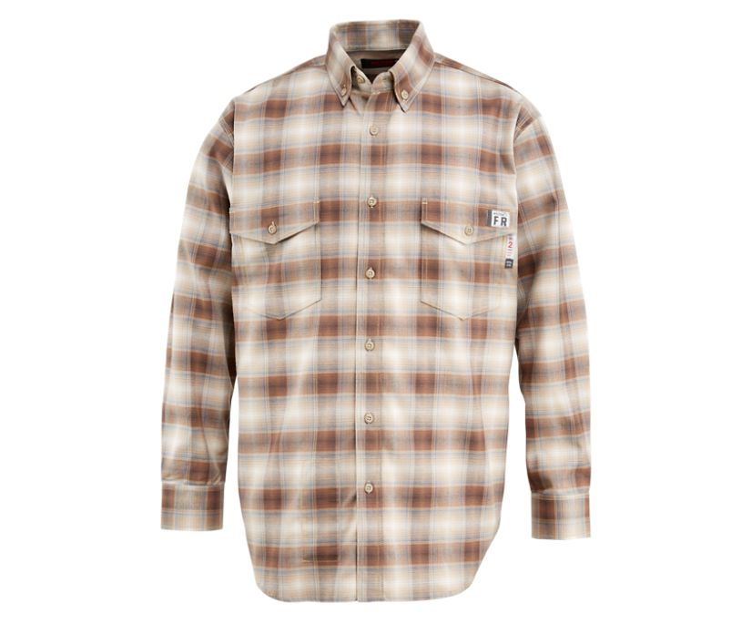 FR Plaid Long Sleeve Twill Shirt - 3X, Khaki Plaid, dynamic