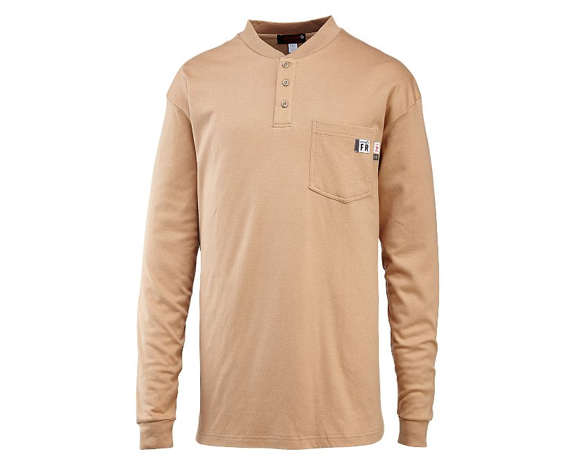 FR Long Sleeve Henley, Khaki, dynamic