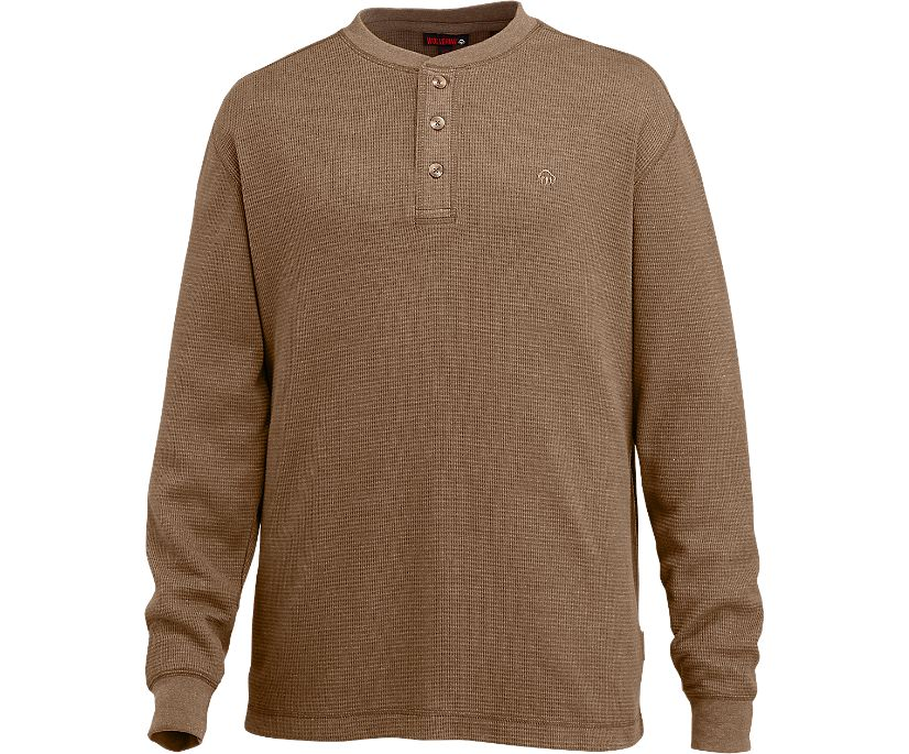 Walden Long Sleeve Henley (Big & Tall), Bison Heather, dynamic