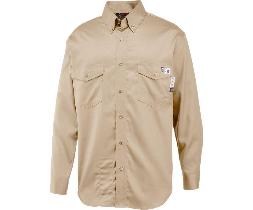 FireZerO Twill Long Sleeve Shirt - 3X, Khaki, dynamic
