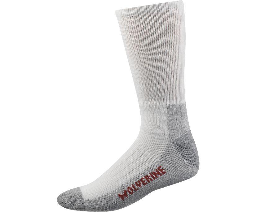 2-pk. Steel Toe Cotton Mid-Calf Sock, White/Grey, dynamic