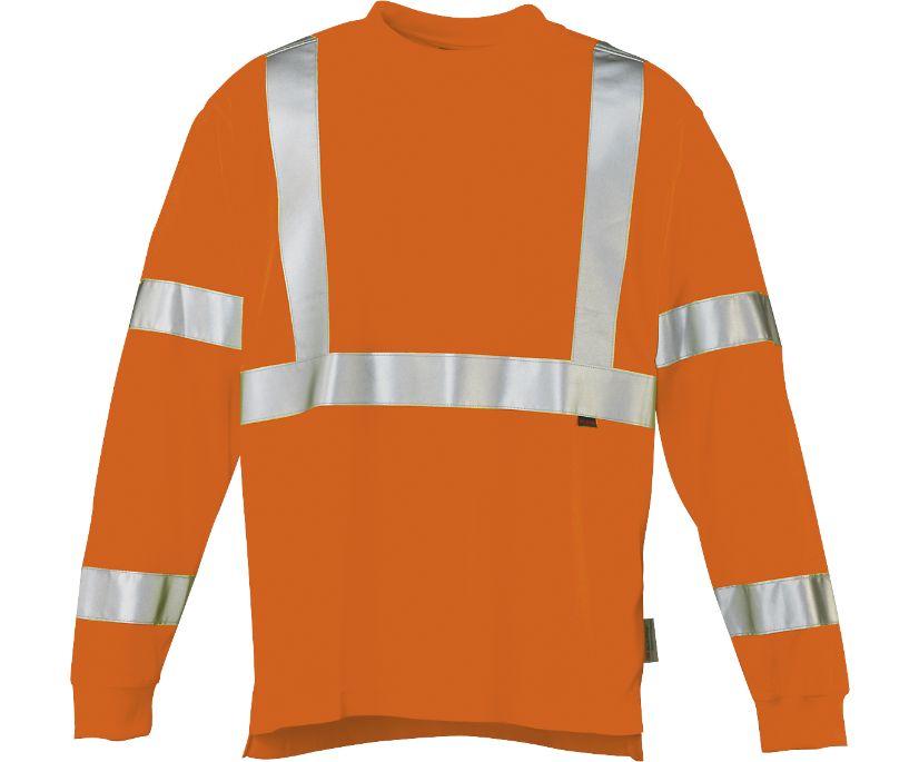 Caution Long Sleeve Tee, Hi Vis Orange, dynamic