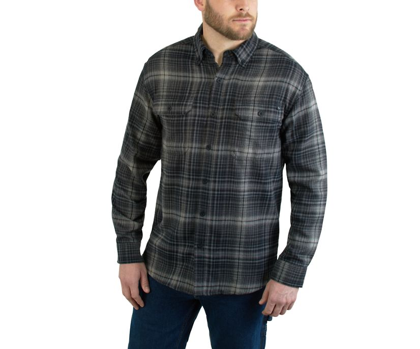 Escape Long Sleeve Flannel Shirt, ONYX PLAID, dynamic