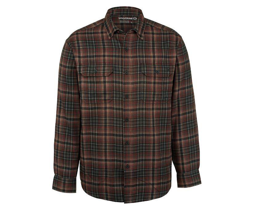 Escape Long Sleeve Flannel Shirt, Oxblood Plaid, dynamic