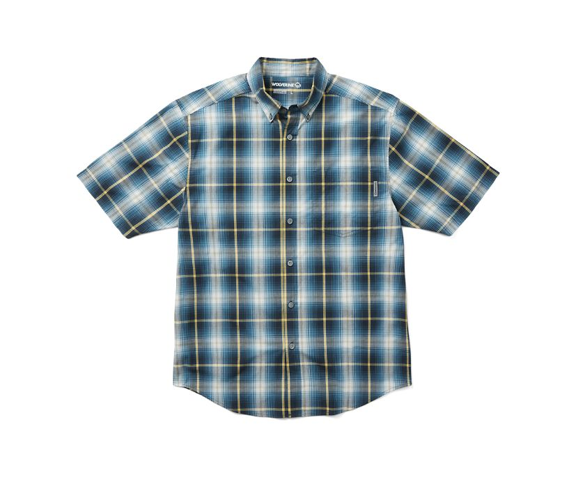 Mortar Short Sleeve Shirt (Big & Tall), Ink Blue Plaid, dynamic