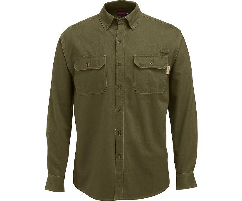 Fletcher Long Sleeve Twill  Shirt, Olive, dynamic