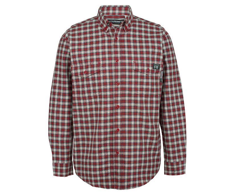 FR Plaid Long Sleeve Twill Shirt - 3X, Dark Red Plaid, dynamic