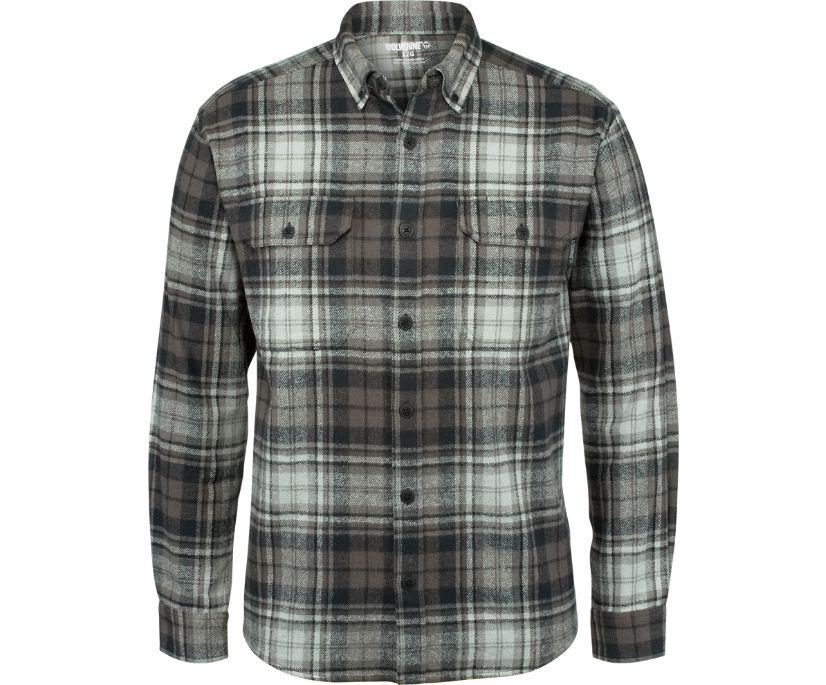Glacier Heavyweight Long Sleeve Flannel Shirt, Onyx Plaid, dynamic