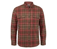 Glacier Heavyweight Long Sleeve Flannel Shirt, GRAVEL PLAID, dynamic