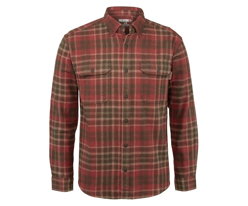 Glacier Heavyweight Long Sleeve Flannel Shirt, GRAVEL PLAID, dynamic