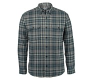 Glacier Heavyweight Long Sleeve Flannel Shirt, SLATE BLUE PLD, dynamic