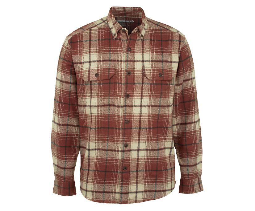 Glacier Heavyweight Long Sleeve Flannel Shirt, Oxblood Plaid, dynamic