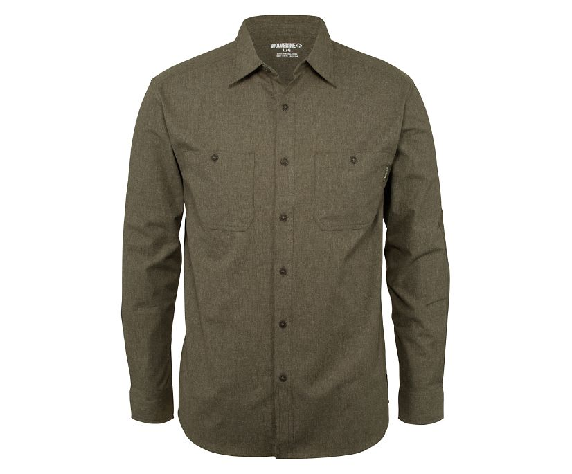 Plainwell Long Sleeve Shirt, Espresso Heather, dynamic