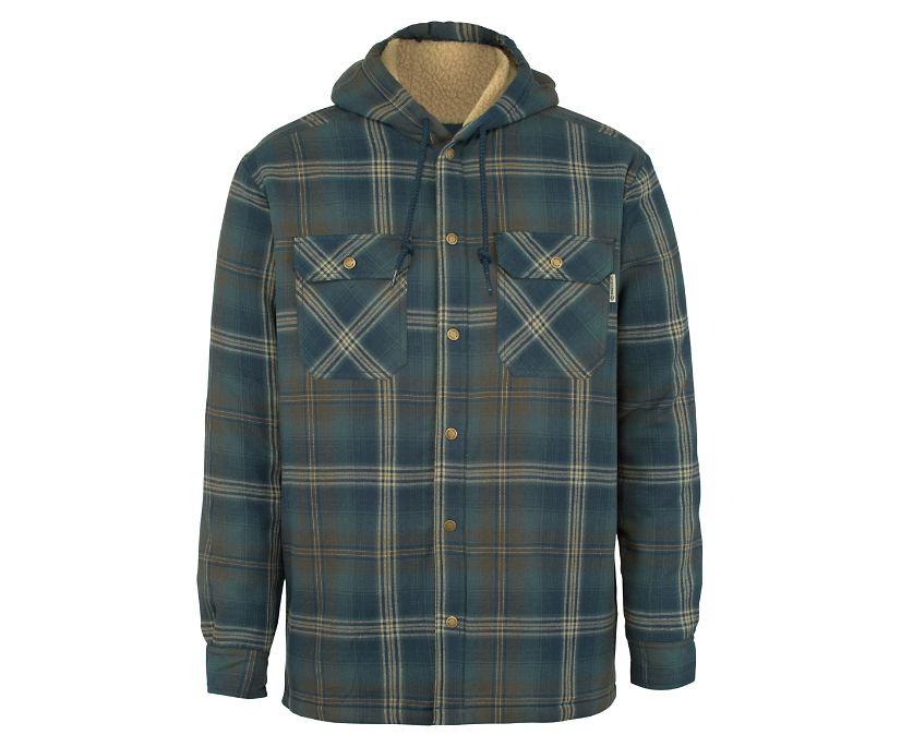 Byron Hooded Shirt JAC, Dark Slate Plaid, dynamic