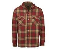 Byron Hooded Shirt JAC, Dark Brick Plaid, dynamic